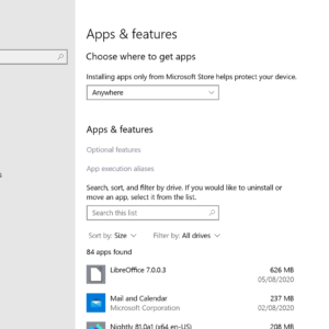 windows 10 apps settings