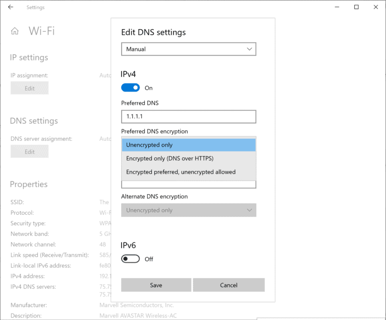 windows-10 dns over https settings