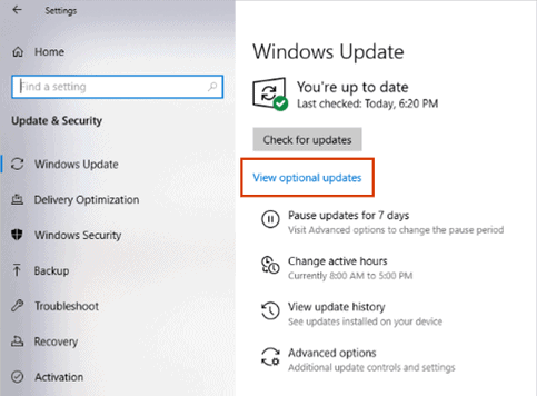 windows 10 optional updates