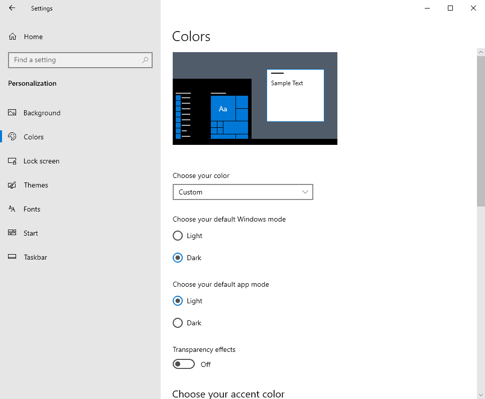windows 10 transparency effects