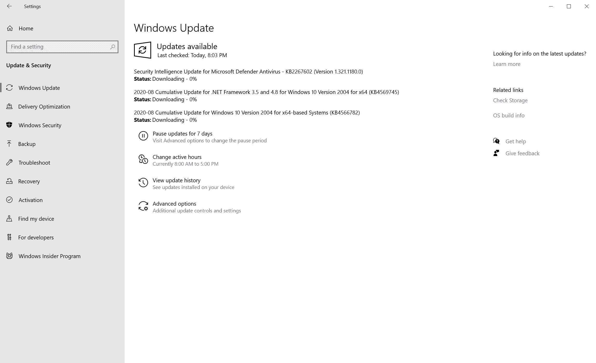 windows updates august 2020