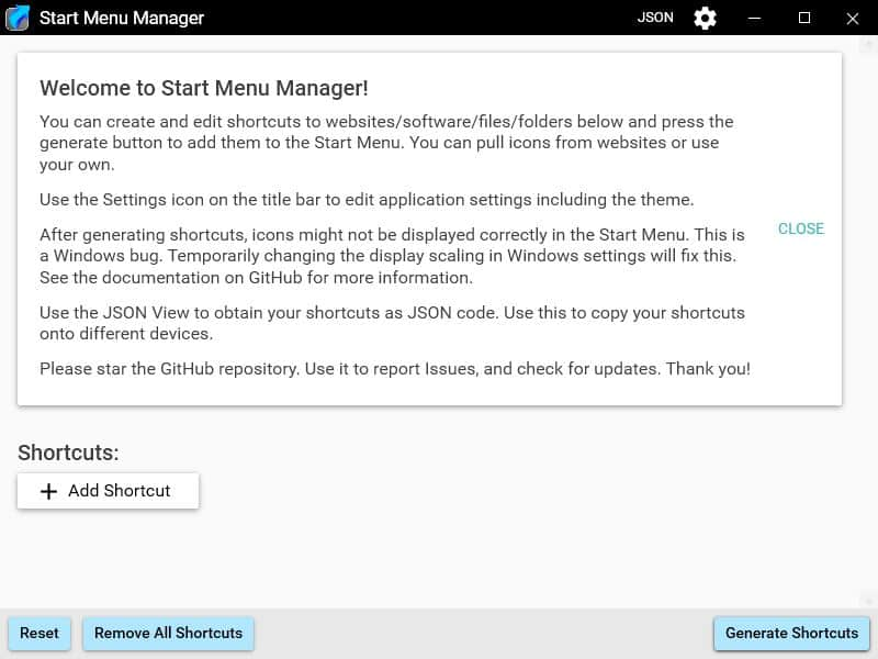 Create customized shortcuts for the Start Menu using Start Menu Manager