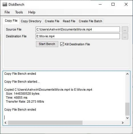 DiskBench example 3 with a movie file