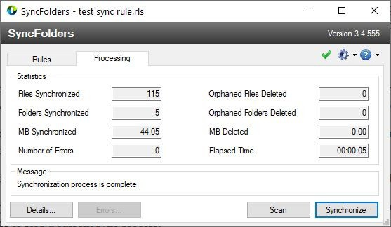Keep the contents of two directories in sync with SyncFolders