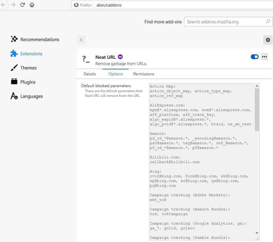 Neat URL is an extension for Chrome and Firefox that removes tracking elements from links