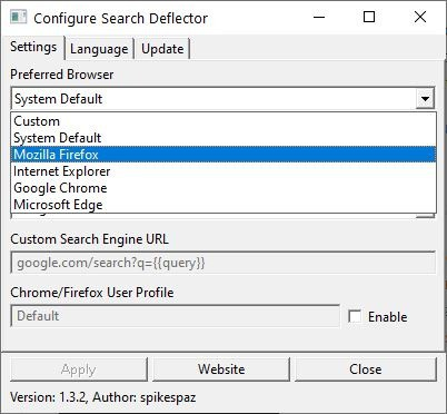 SearchDeflector select browser