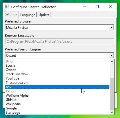 SearchDeflector select search engine 2