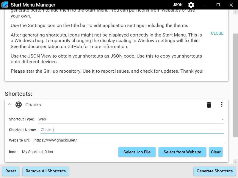 Start Menu Manager - add web shortcut