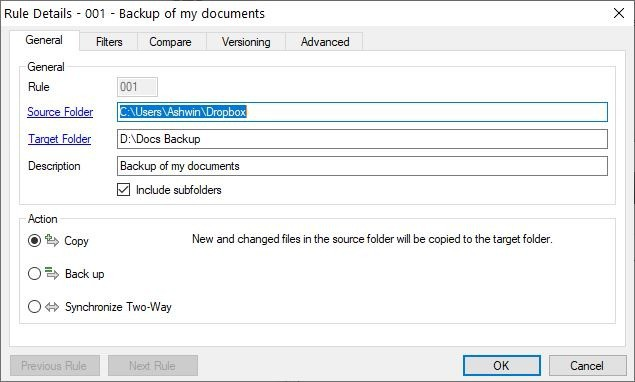 Sync Folders new rule