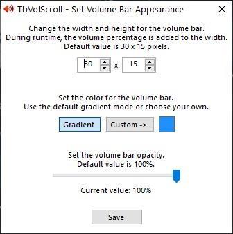 TbVolScroll set volume bar appearance