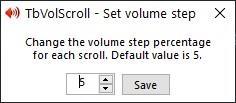TbVolScroll set volume step