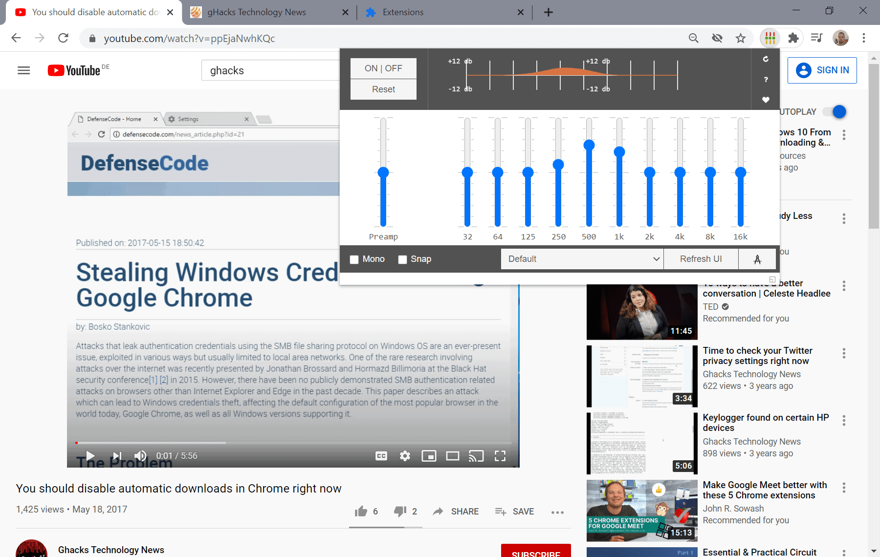 Add An Audio Equalizer To Firefox Chrome And Other Browsers Ghacks Tech News