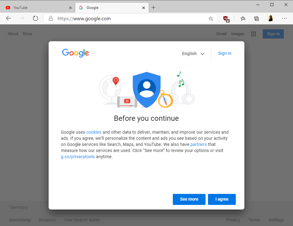 block-google before you continue