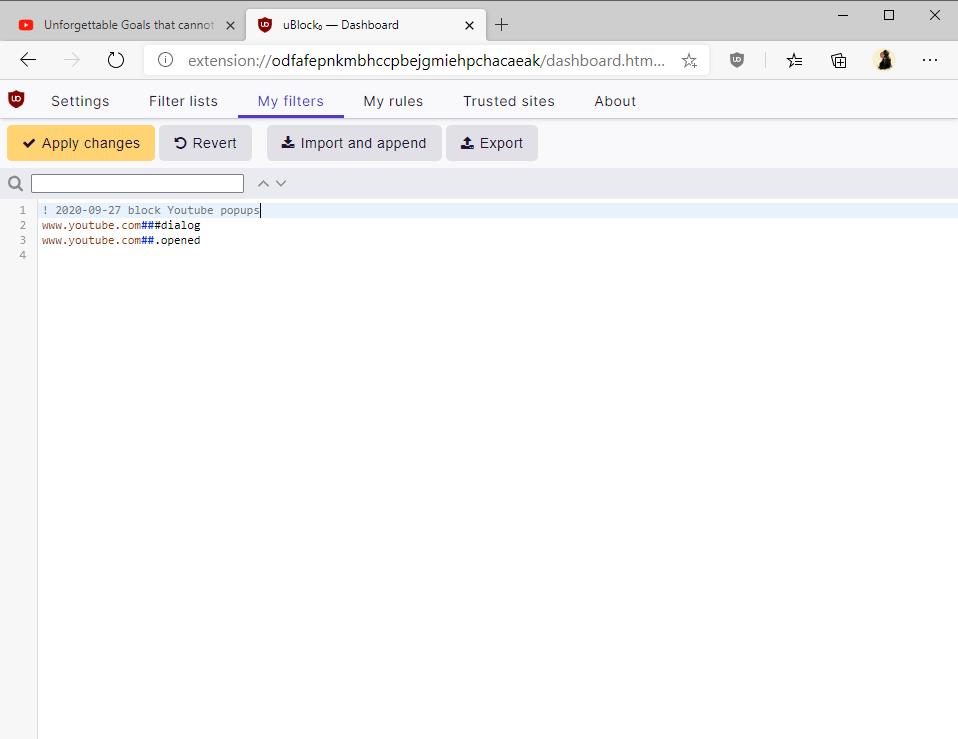 block youtube popups ublock