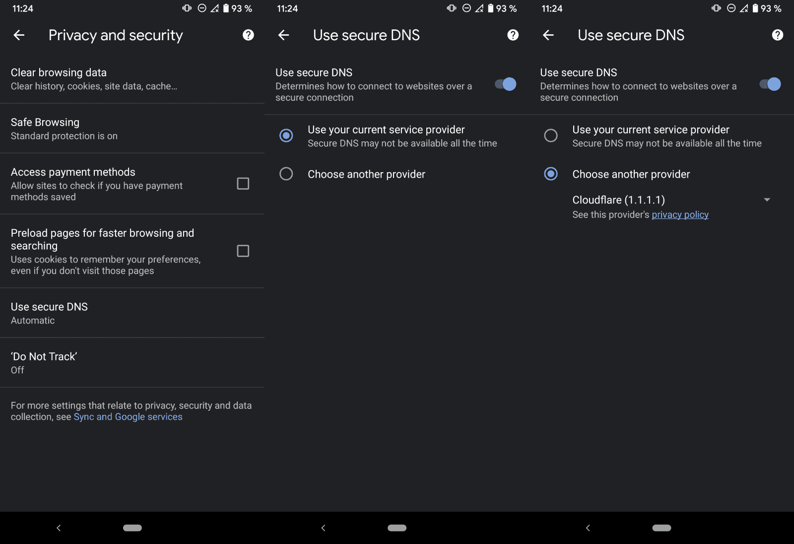 chrome android secure dns