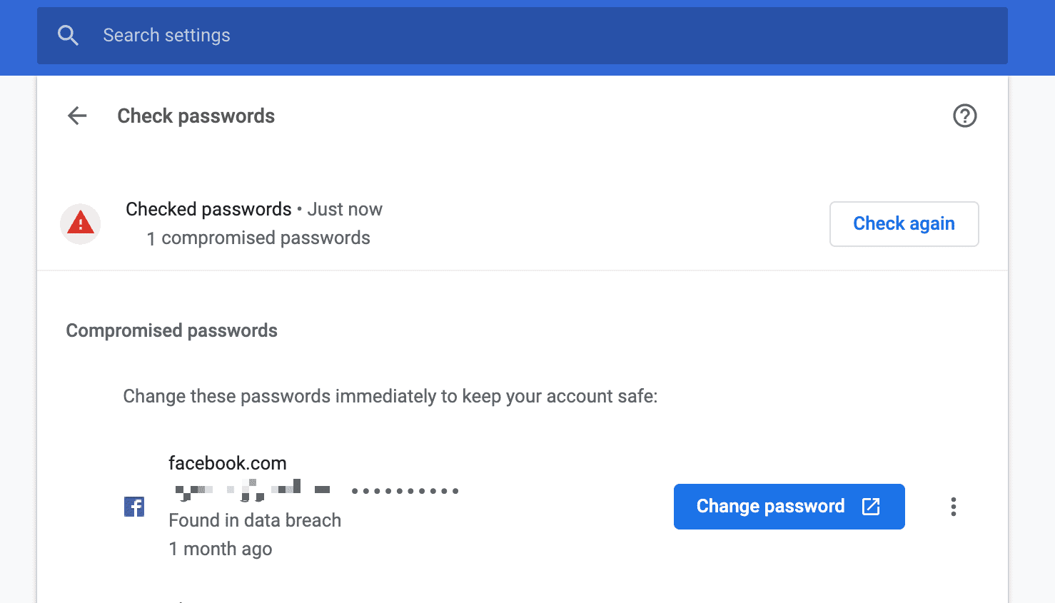 chrome change password link