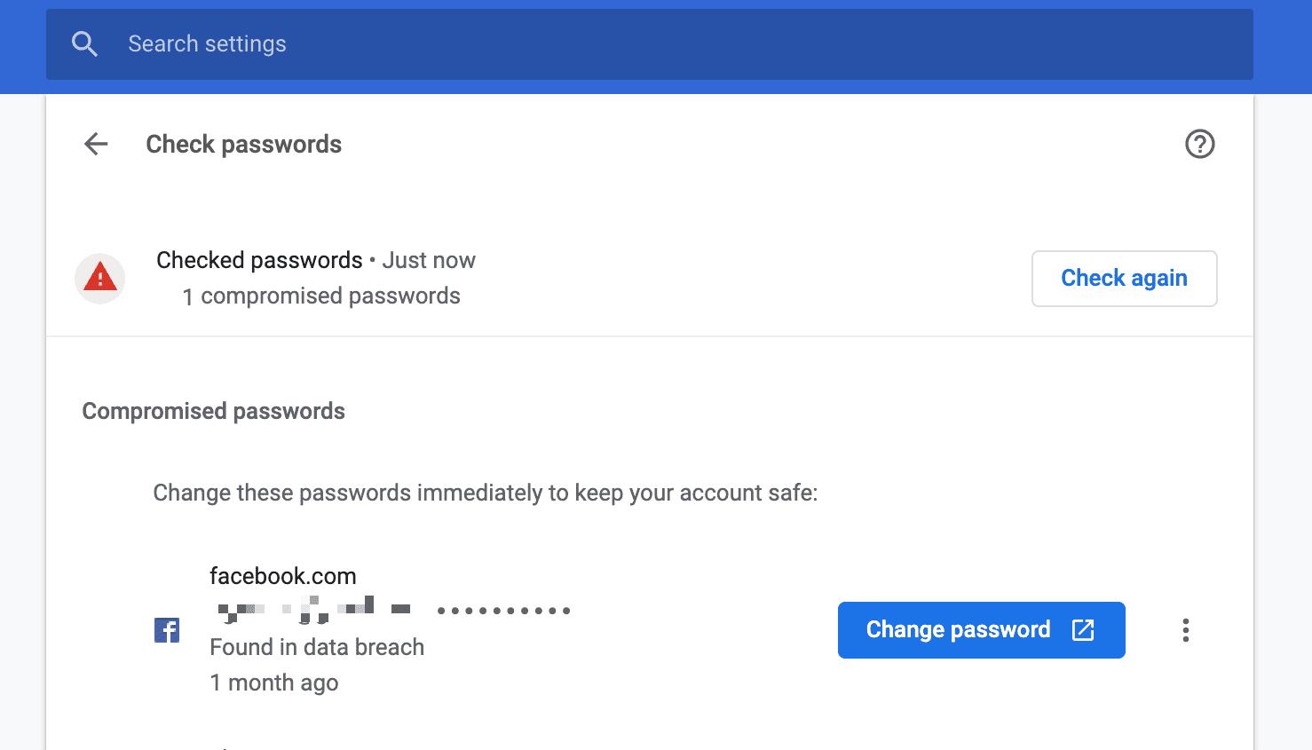 chrome change password link