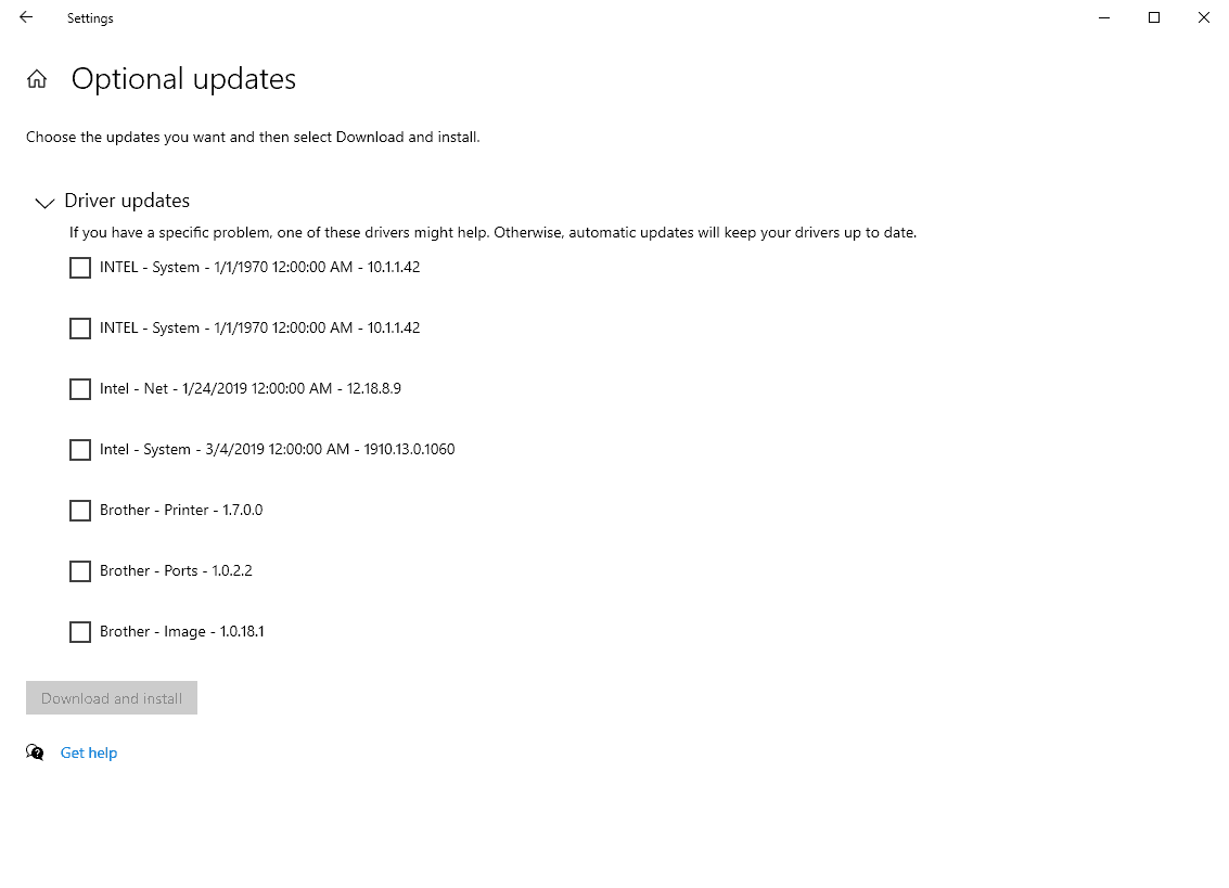 windows 10 optional driver updates