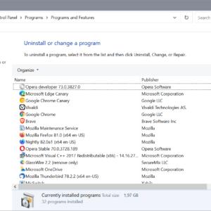 windows programs features control panel