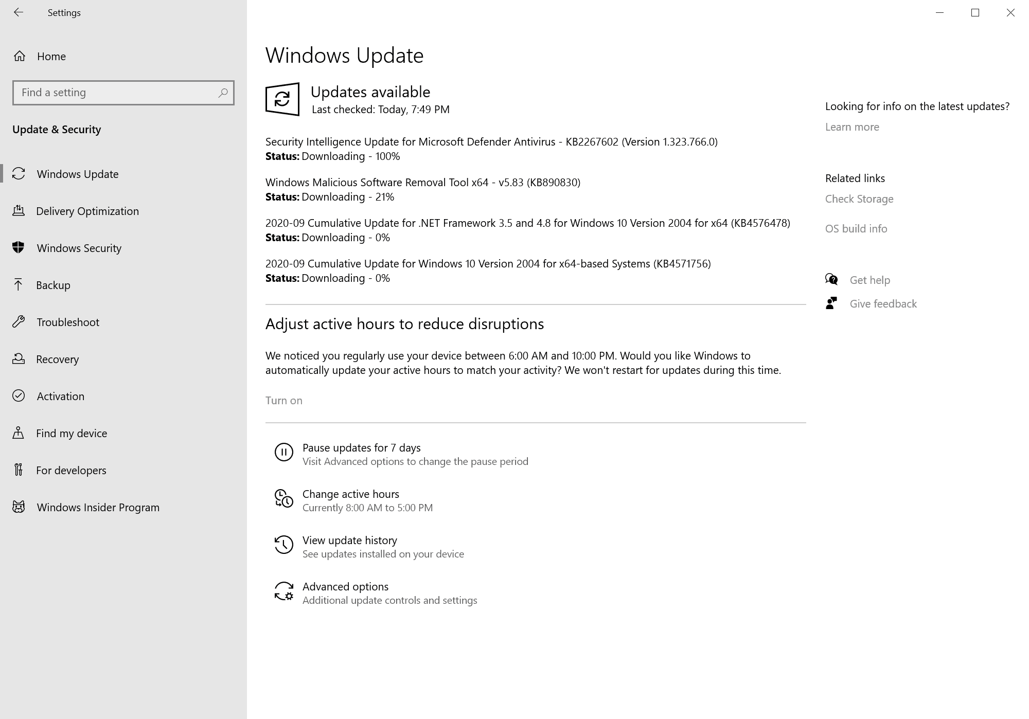 windows security updates september 2020