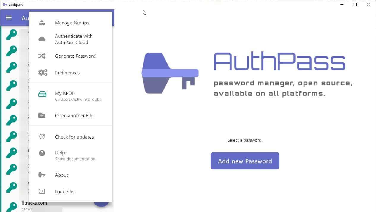 AuthPass main menu