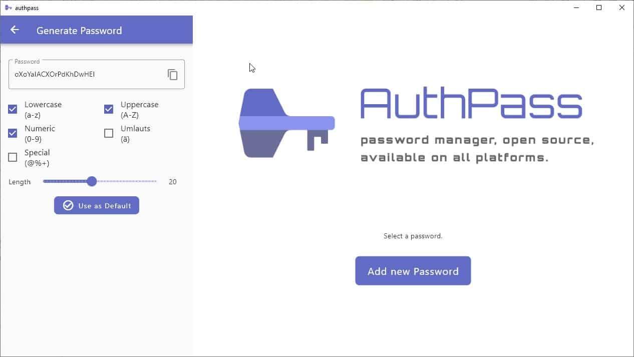 Authpass password generator