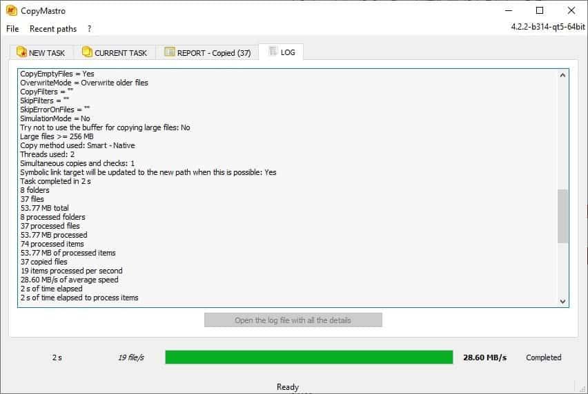 CopyMastro task log