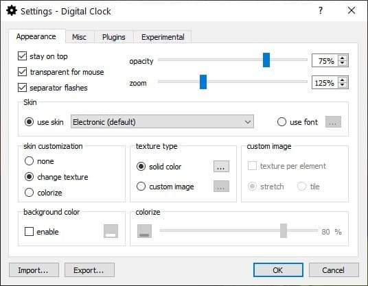 Digital Clock 4 appearance tab
