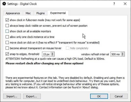 Digital Clock 4 experimental settings