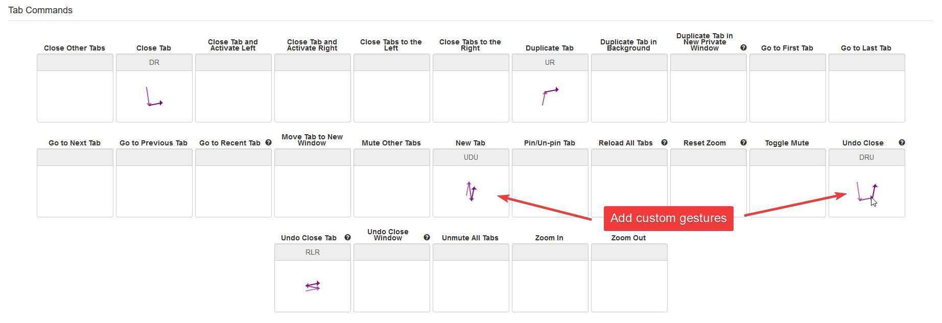 Foxy Gestures custom shortcuts