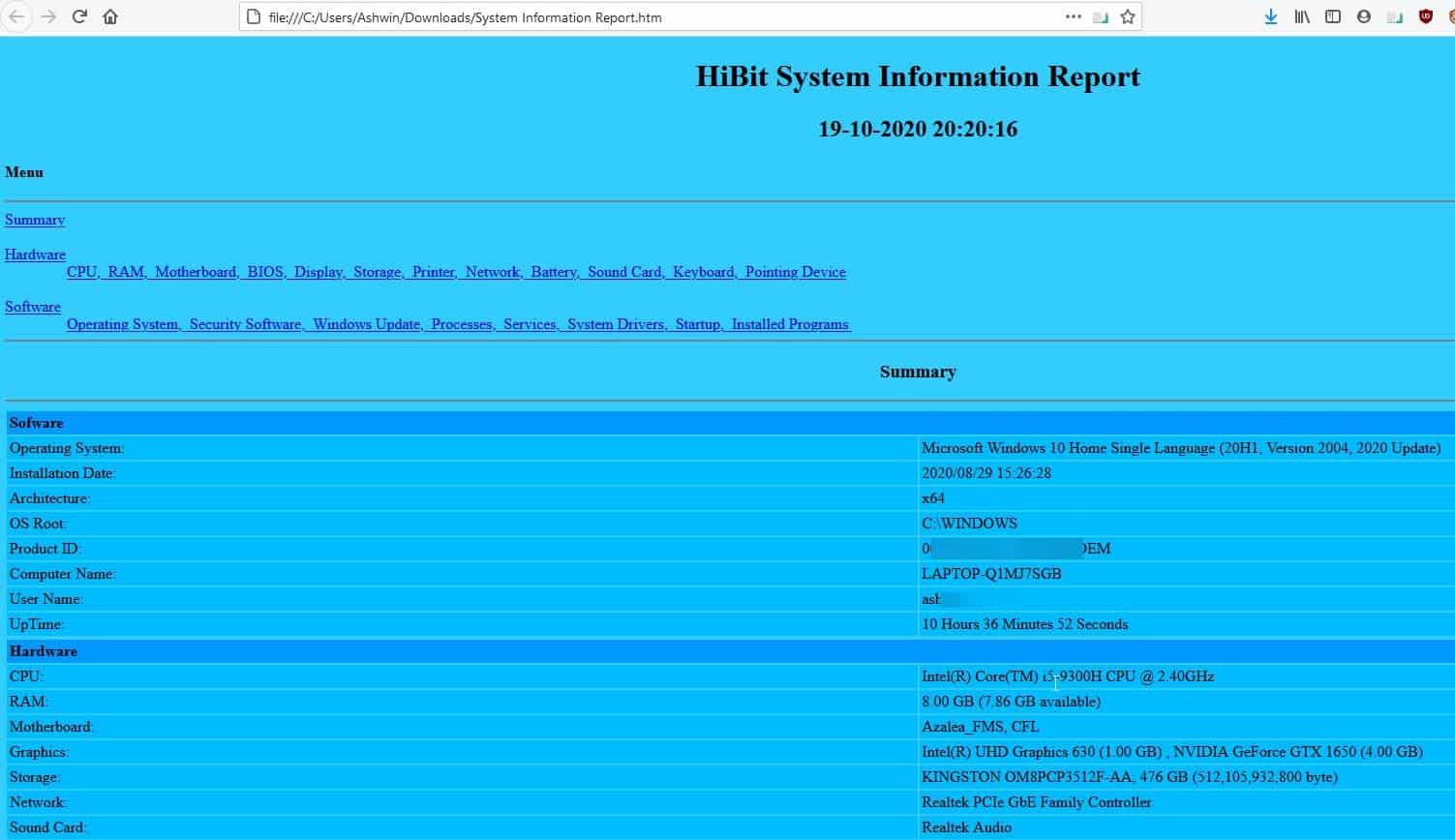 HiBit System Information - export to html 2