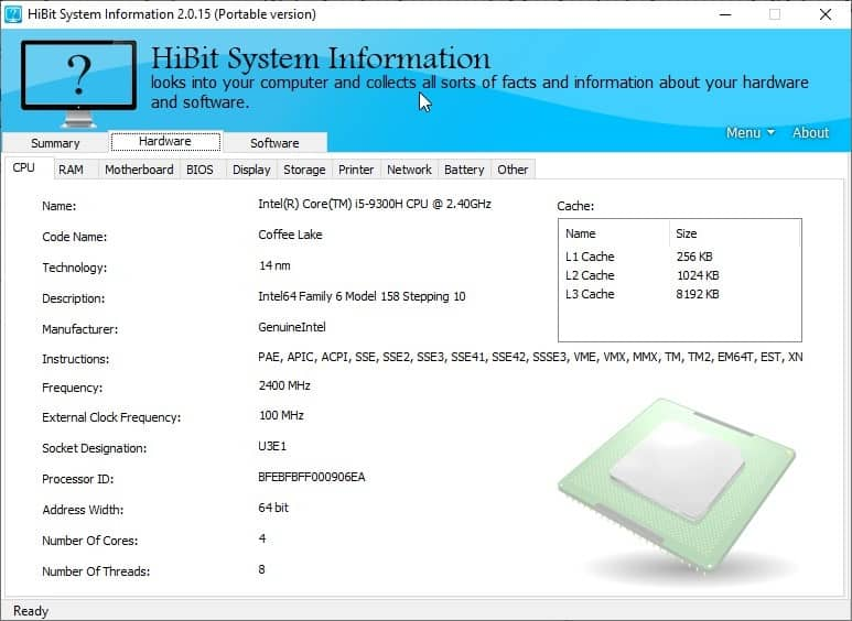 HiBit System Information - hardware