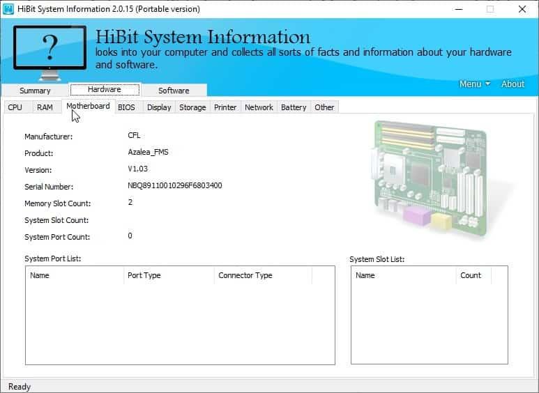 HiBit System Information - motherboard