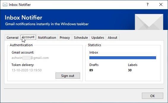 Inbox Notifier account