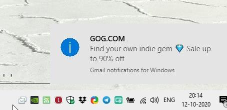 Inbox Notifier displays a notification on your desktop when a new mail lands in your Gmail inbox
