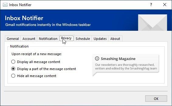 Inbox Notifier privacy