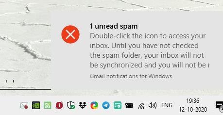 Inbox Notifier spam folder