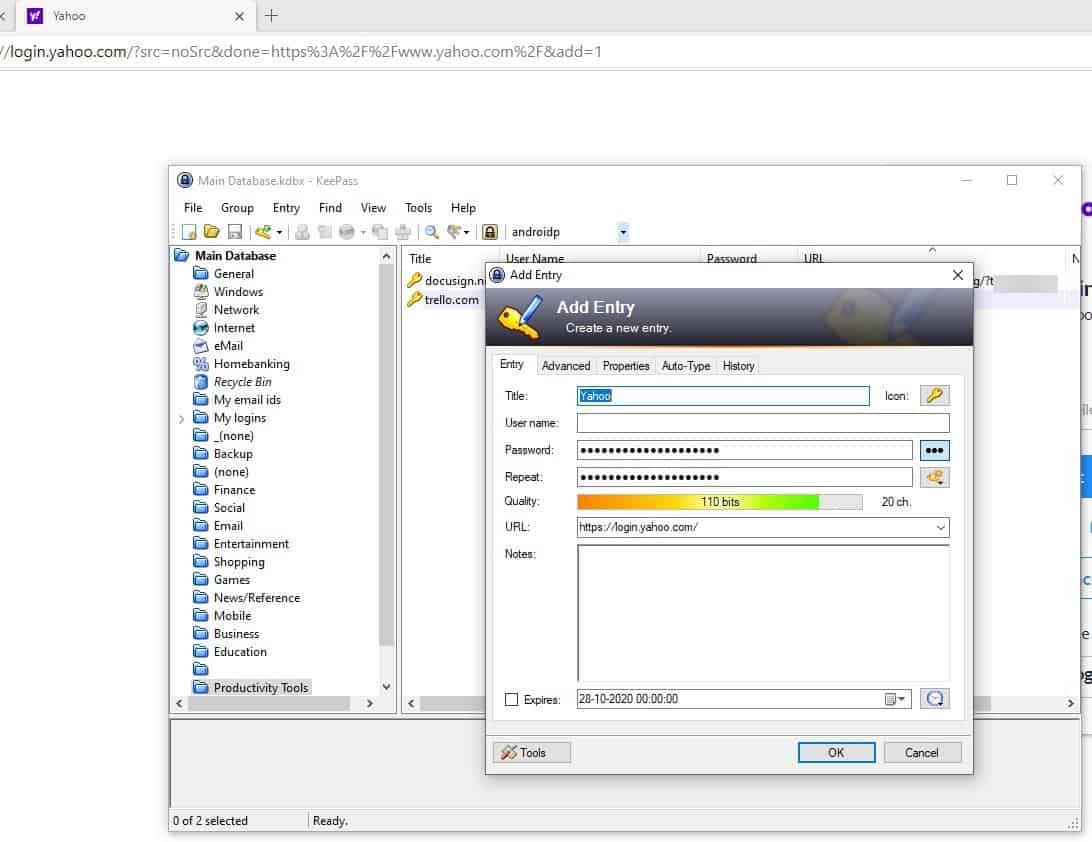 KeePass WebAutoType create new entry