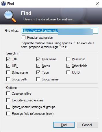 KeePass WebAutoType find entry