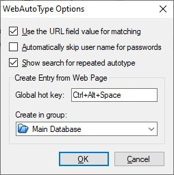 KeePass WebAutoType options