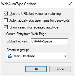 KeePass WebAutoType options