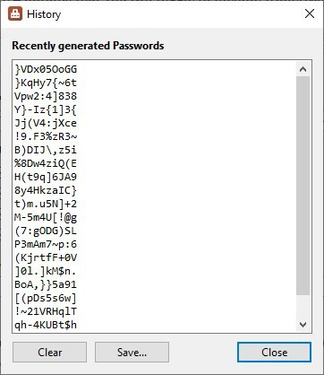 PasswordGenerator history