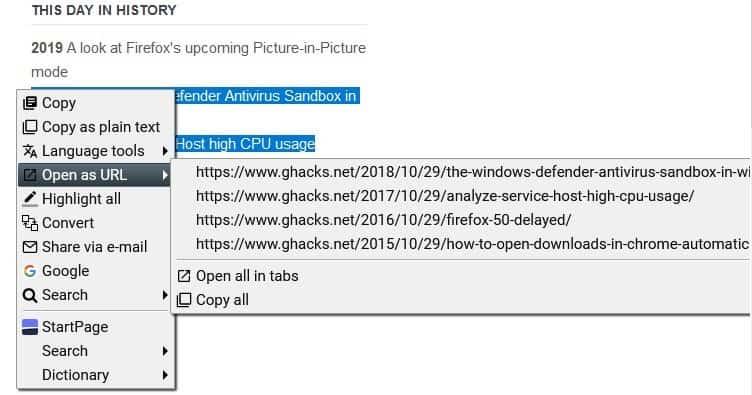 SelectionSK copy urls