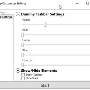 Shrink the Windows Taskbar, modify the RGB levels, hide the Start and Show desktop buttons with TaskbarCustomizer
