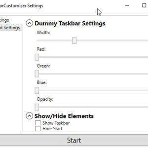 Shrink the Windows Taskbar, modify the RGB levels, hide the Start and Show desktop buttons with TaskbarCustomizer