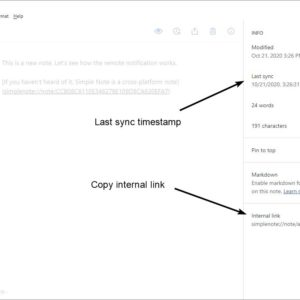 Simplenote 2.0 update copy internal link