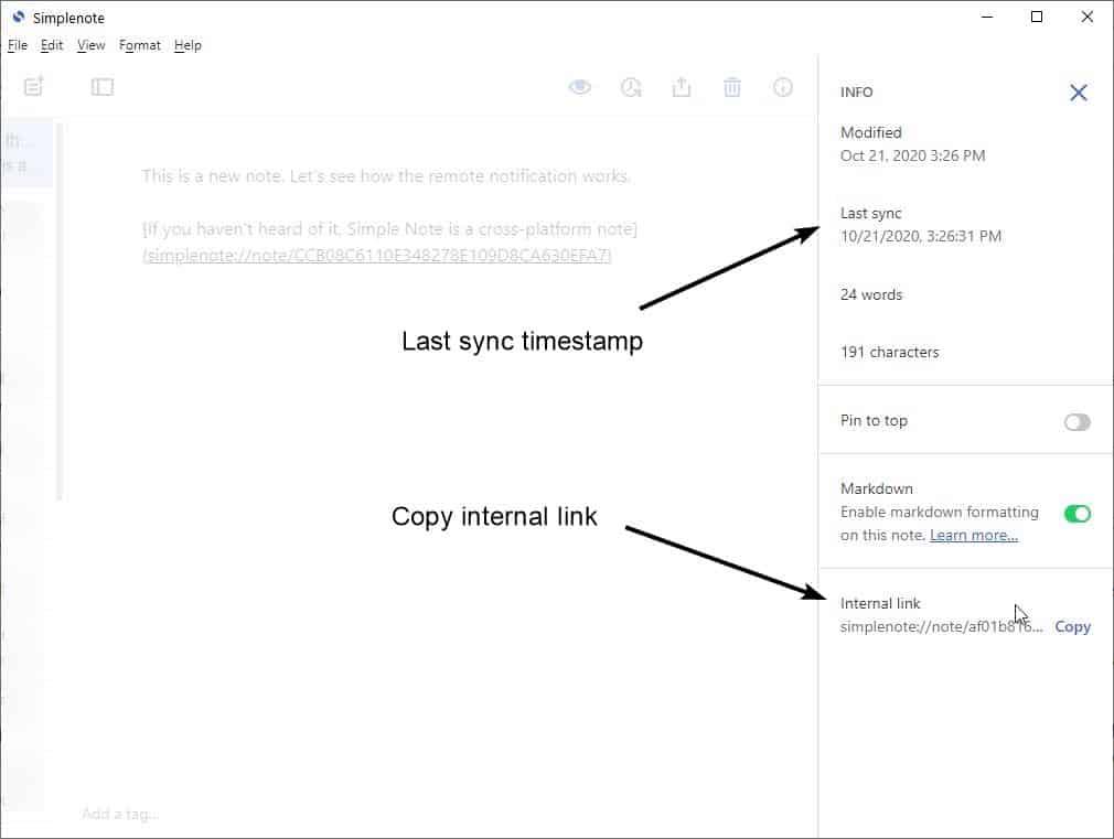 Simplenote 2.0 update copy internal link