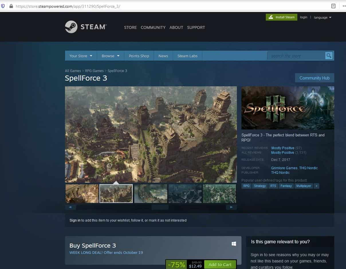 Steam original page