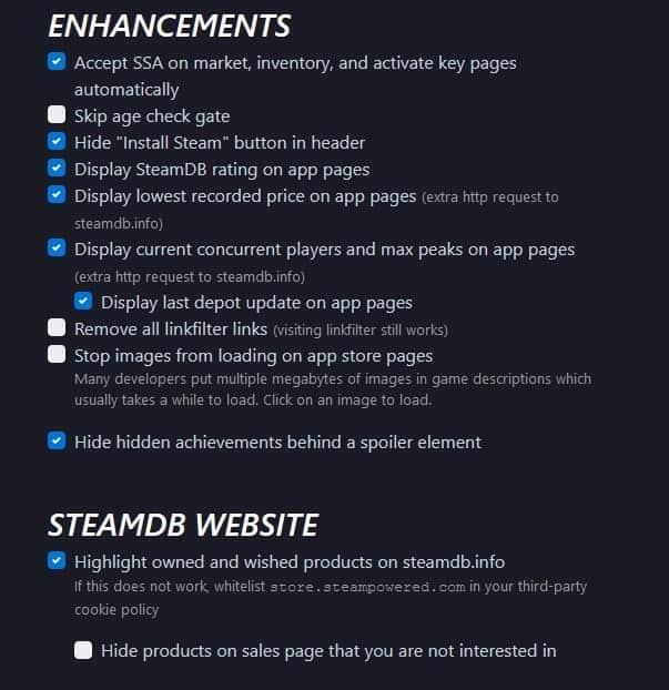 Steamdb options 2