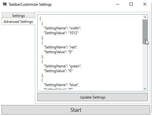 TaskbarCustomizer advanced settings